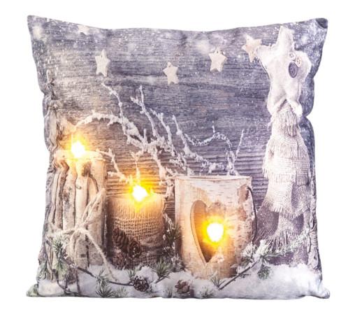 Coussin décoratif à 3 LED motif bougies - 45x45cm