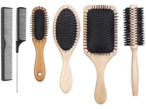 pack de 6 brosses a cheveux antistatiques avec manche en bois de bambou et poils en nylon doux