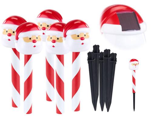 Decoration De Noel Exterieur Solaire.Ensemble De 5 Piquets Décoratifs Solaires à Led Père Noël Lunartec