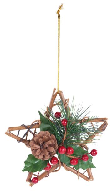 etoile de noel decorative en bois avec pomme de pin sapin et houx