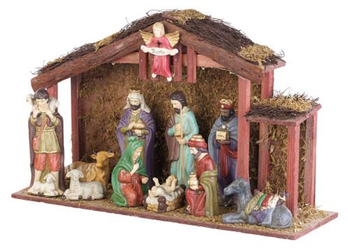 Grande crèche de Noël avec 11 figurines en porcelaine et LED