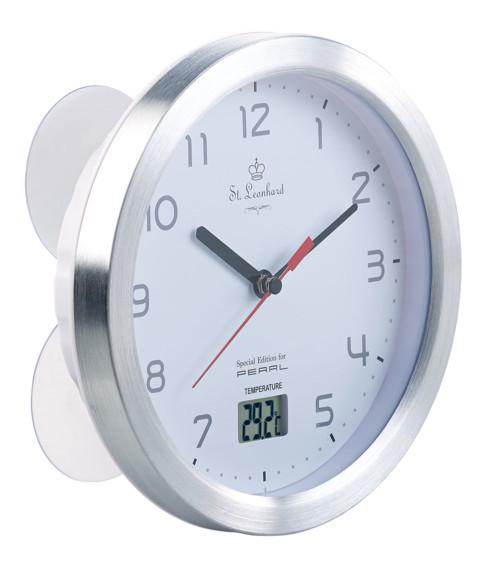 horloge cadran étanche pour salle de bains avec thermometre et ventouses de fixation