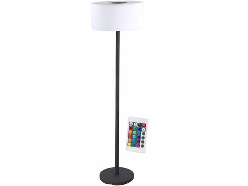Lampe sur pied déco à chargement solaire ou secteur avec led de couleur et télécommande Lunartec