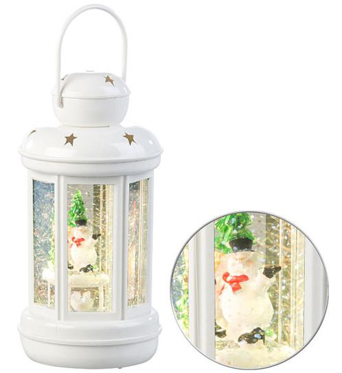 lanterne led blanche à piles avec petit bonhomme de neige et fausse neige pour decoration noel