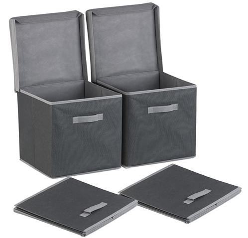 lot de 2 boites de rangement cubiques noir en tissu pour bibliotheque etagere meuble