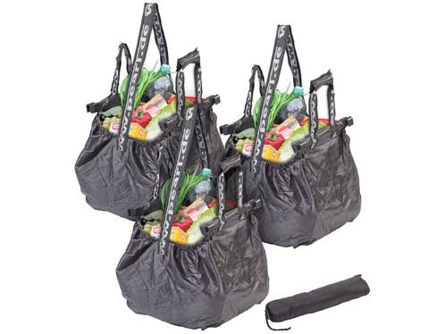 3 sacs de courses pliable 20 L avec clips de fixation & bandoulière