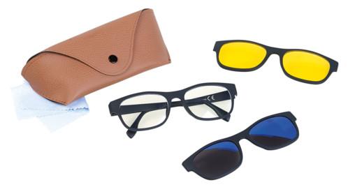lunettes de vue filtre anti lumière bleue uv avec surlunettes aimantées lunettes de soleil lunettes jaunes de conduite