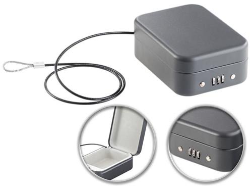Mini coffre-fort voyage & voiture avec câble de sûreté - 0,7 L