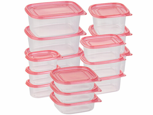 Pack de 15 boîtes de conservation en plastique - 5 formats