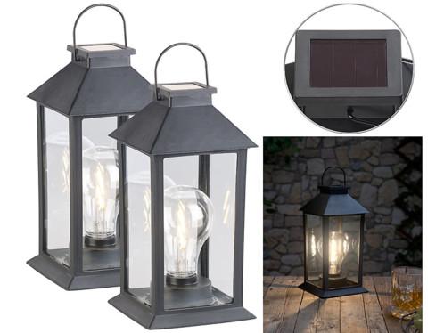 Pack de 2 lanternes LED solaires 5 lm avec capteur de luminosité