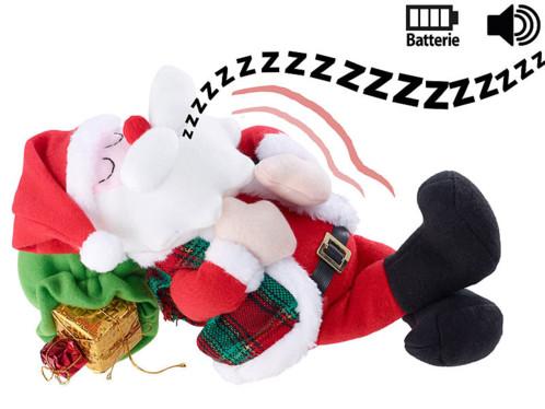 peluche pere noel dormant et ronflant avec mouvements de respiration déco noel
