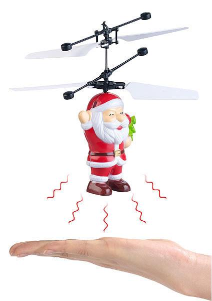 mini helicoptere automatique forme figurine pere noel detecteur de main cadeau fun noel