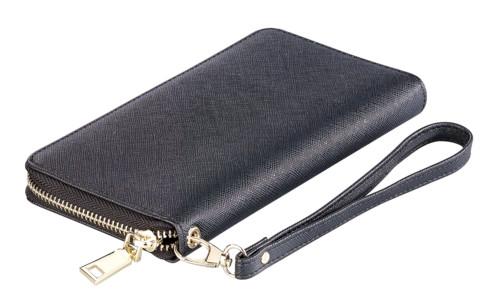Porte-monnaie RFID aspect cuir avec compartiment pour smartphone