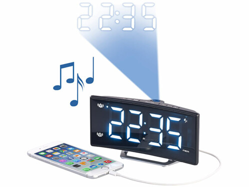 Radio-réveil à projection avec affichage blanc et port de chargement USB