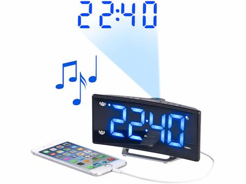Radio-réveil à projection avec affichage bleu et port de chargement USB