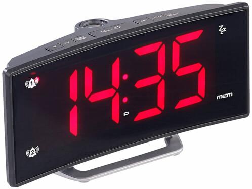Radio-réveil incurvé avec projecteur LED rouge et port USB pour smartphone.