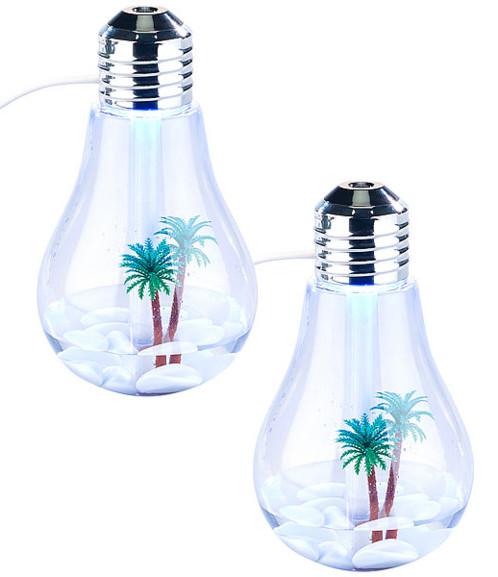 Set de 2 humidificateurs d'air à ultrasons design ampoule avec LED RVB