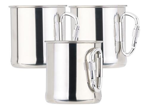 3 tasses en acier inoxydable avec mousqueton - 250 ml