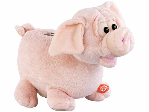 Tirelire peluche cochon sonore à oreilles animées