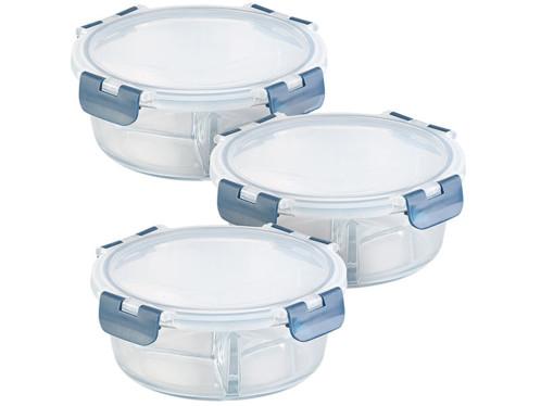 3 boîtes de conservation en verre à 3compartiments -20 °Cà 520 °C