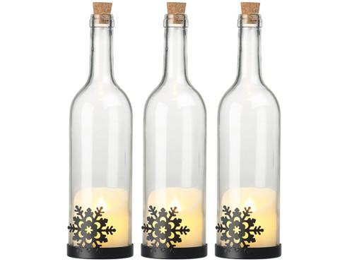 3 bouteilles de vin décoratives avec bougie LED vacillante - Flocon