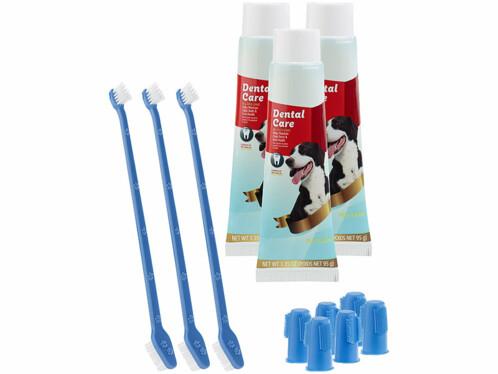 3 kits d'hygiène dentaire canine : brosses et dentifrice