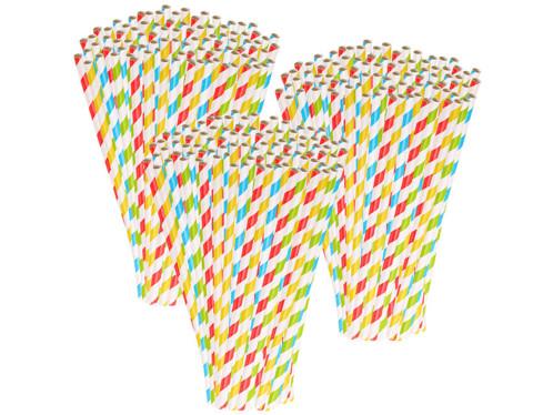 300 pailles en papier rayé 4 couleurs