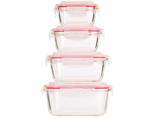 Lot de 4 boîtes de conservation en verre sans BPA.