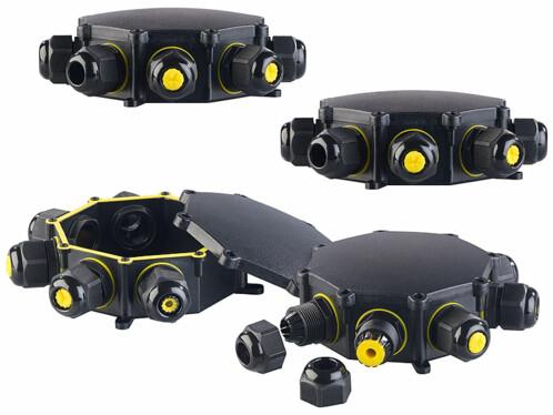 4 boîtiers étanches pour câbles électriques 6 entrées