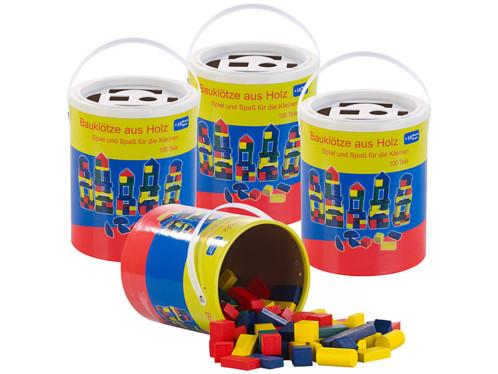 4 seaux de 100 blocs de construction en bois en 4 couleurs et 6 formes