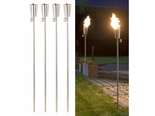 "4 torches de jardin en acier inoxydable ""Amor"" - 280 ml"