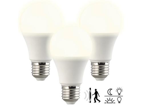 3 ampoules LED avec capteurs de mouvement et d'obscurité 10W- Blanc chaud