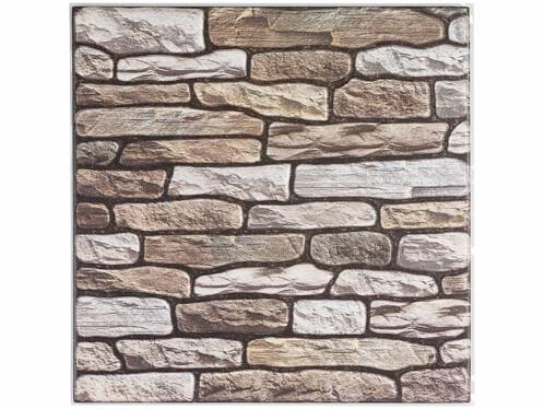 Autocollants décoratifs 3D (x15) - 30 x 30 cm - Mur en pierres de rivière