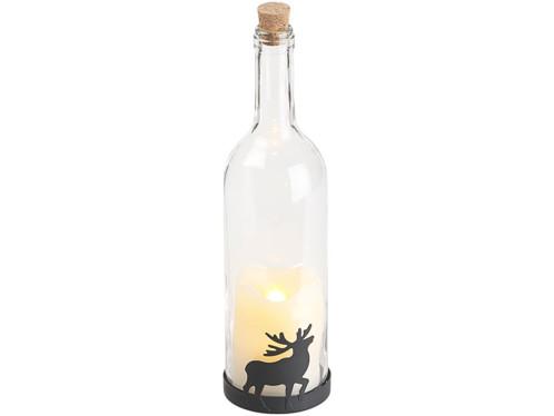 Bouteille de vin décorative avec bougie LED vacillante - Renne