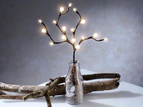 fausse branche lumineuse avec 16 boules à led avec alimantation par piles
