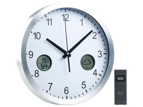 Horloge murale radio-pilotée avec station météo intégrée et capteur extérieur