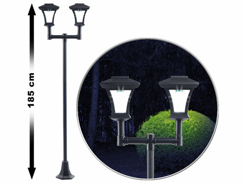 éclairage LED solaire extérieur  lampadaire double lampes avec détecteur diurne