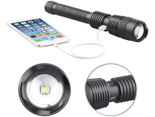 lampe torche led cob aluminium 10w rechargeable avec sortie usb pour smartphones