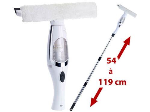 Nettoyeur de vitres avec manche télescopique et vaporisateur