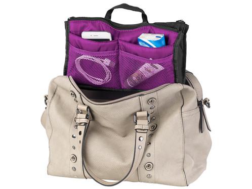 Organisateur de sac à main 26 x 16 x 8 cm à 13 poches - coloris violet