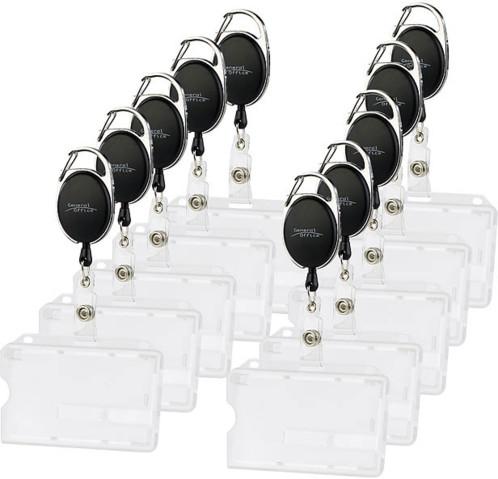 Lot De 10 Porte Badge Carte Visite Avec Derouleur Cable Pour Salons Representants Commerciaux