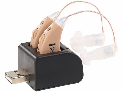 paire d'écouteurs auditifs couleur chair sur oreille Newgen medicals
