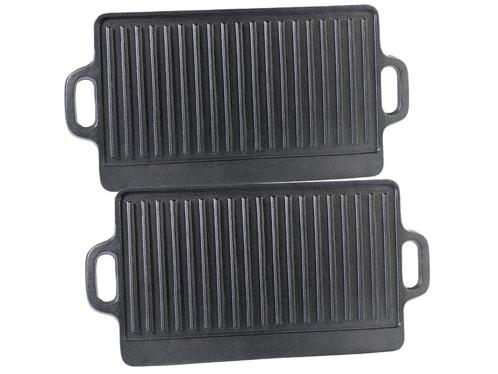 2 plaques-grils de cuisson en fonte - 38 x 23 cm