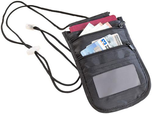 Pochette tour-de-cou unisexe à protection RFID et 4 compartiments - Noir