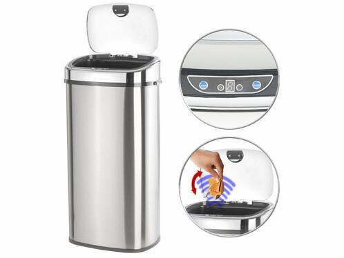 poubelle a ouverture automatique detecteur de mouvement en inox capacité 68 litres