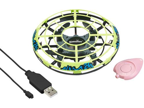 mini drone pour enfant forme ovni vert avec led capteur infrarouge et stabilisateur automatique simulus