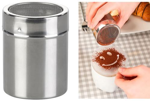saupoudreuse en inox avec pochoirs pour desserts et cappuccinos