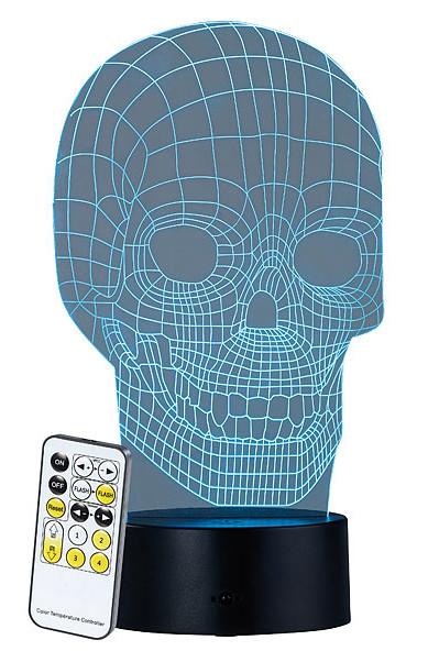 """Socle lumineux décoratif à LED """"LS-7.3D"""" - Motif Crâne"""