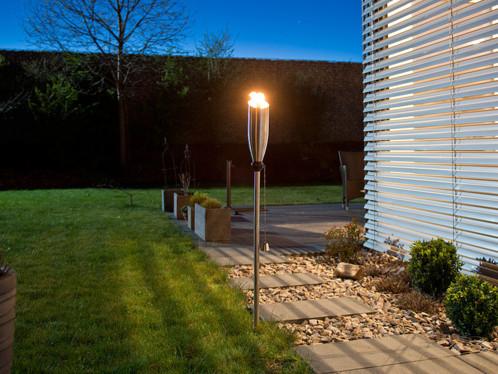 2 torches lampe lanterne a huile de jardin en inox
