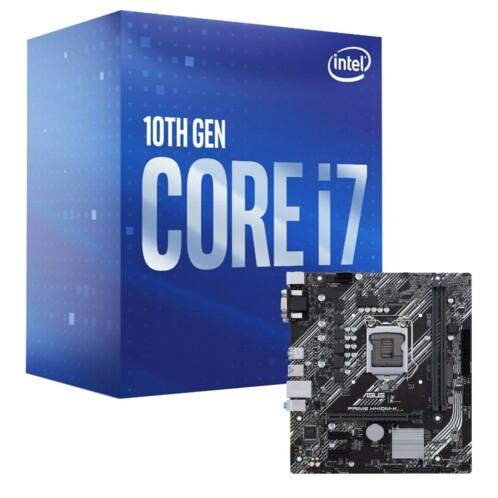 Kit avec une carte mère Asus Prime H410M-K et un processeur Intel Core i7-10700.